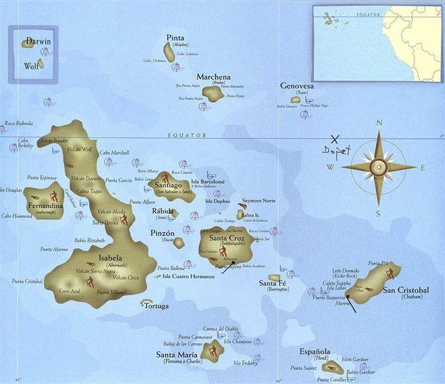 galapagosöarna karta Långresan 1958   1959 av Dan Frostberg   Galapagos galapagosöarna karta