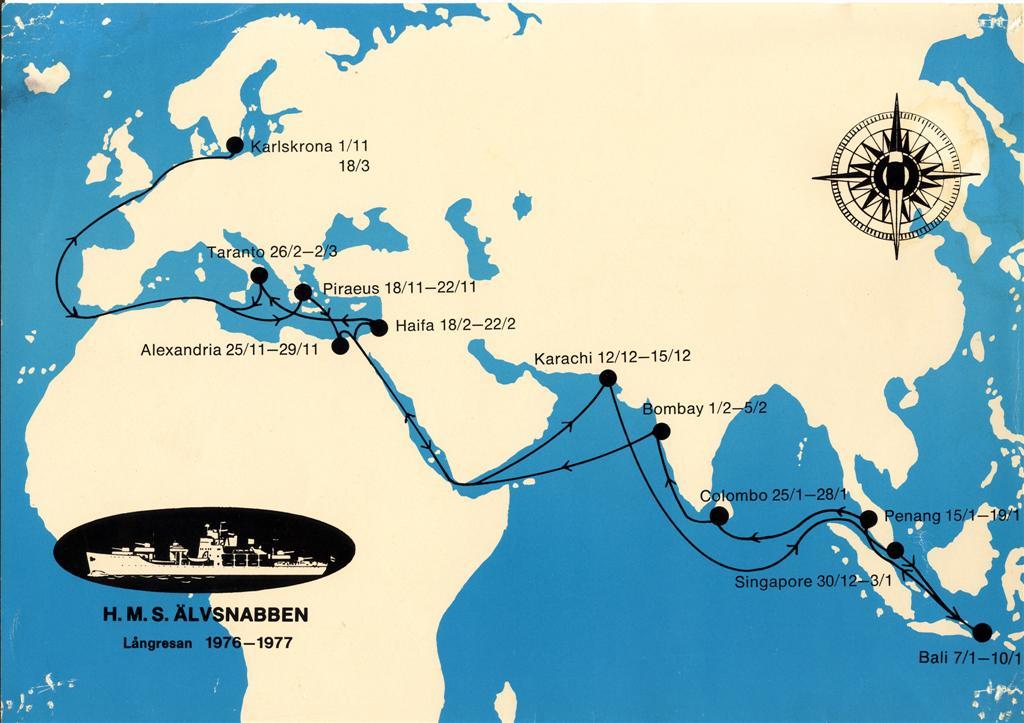 älvsnabben göteborg karta HMS Älvsnabben   Långresan 1976 77 älvsnabben göteborg karta